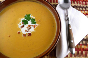 Sweet Potato Soup with Maple and Bacon